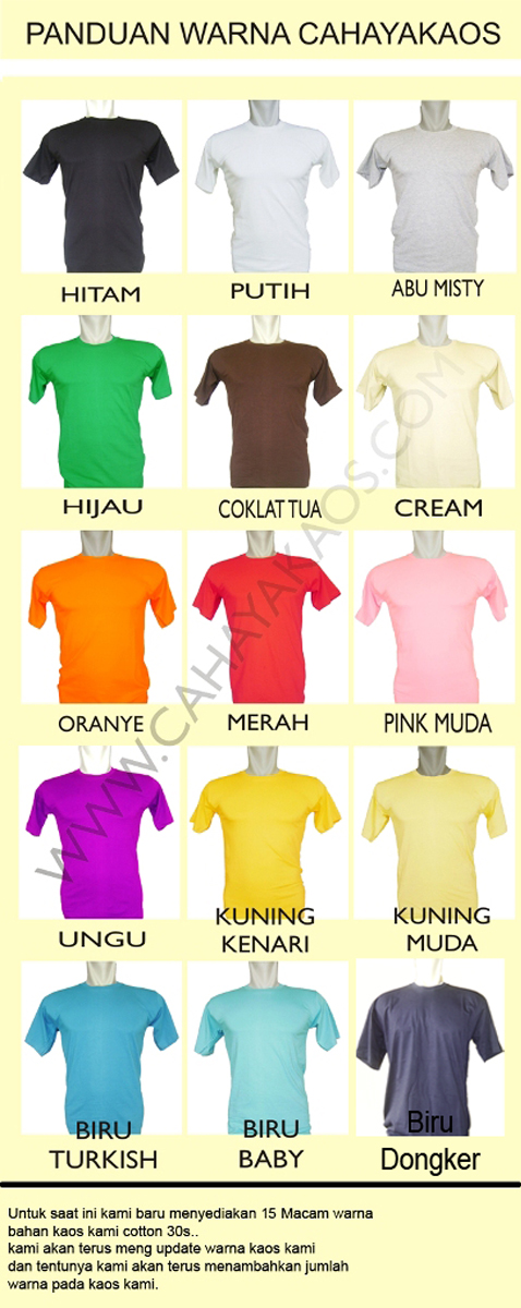 panduanWARna kaos polos warna